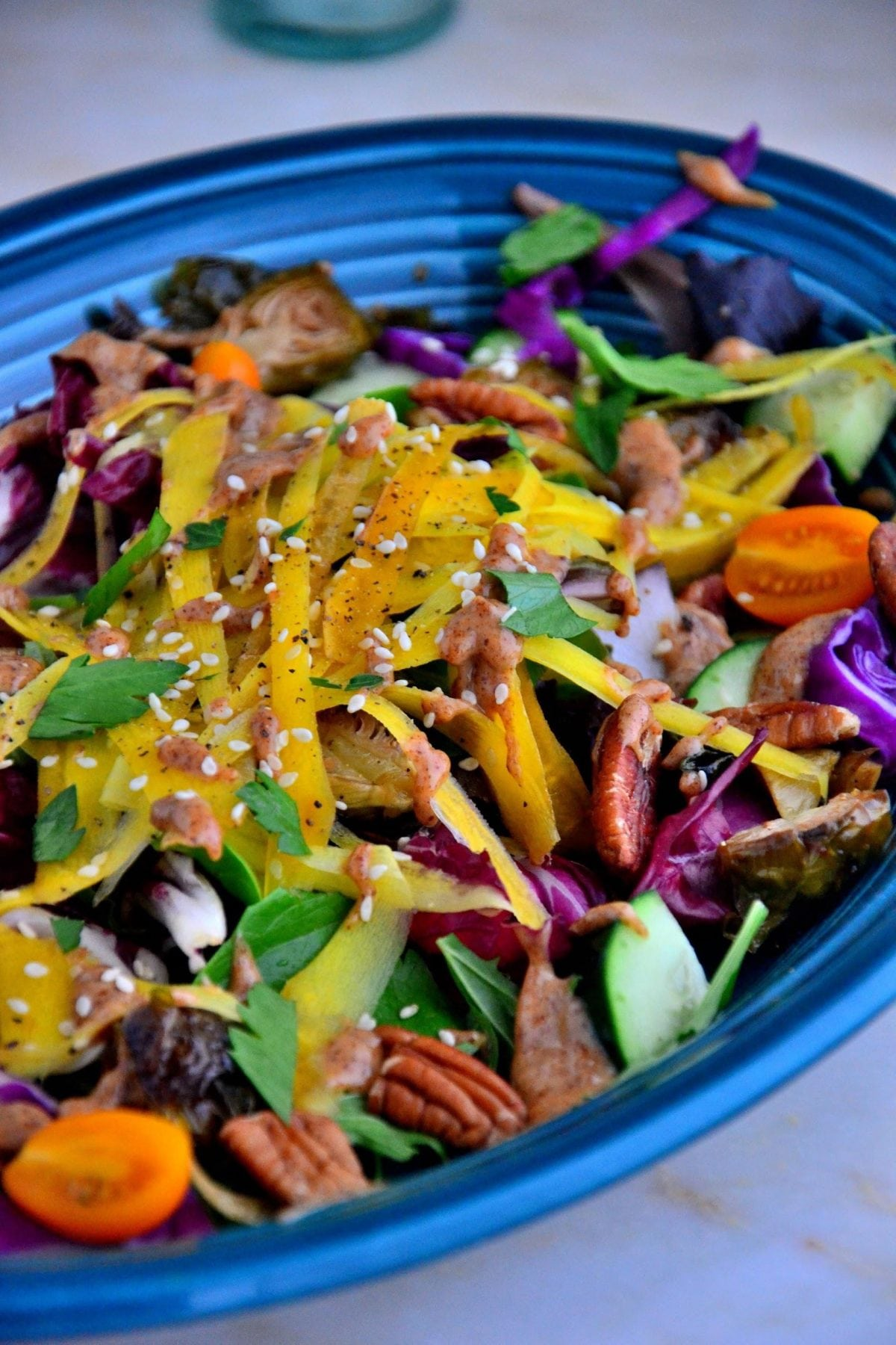 Rainbow Carrot and Brussels Sprout Salad with Pecans