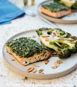 Herb-Crusted Roasted Salmon with Roasted Broccoli Steaks